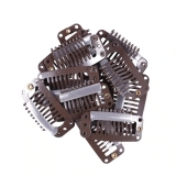 Pcte 12 Clipes De Aço 32mm 9-dentes c/ Silicone Para Confecção de Perucas - MARROM ESCURO
