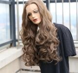 Peruca Front Lace 13x4 Longa 65cm Ondulada Fibra Japonesa Castanho Claro Muito Linda Excelente Qualidade
