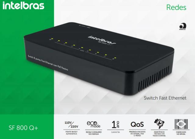 Switch 8 portas Fast Ethernet sf-800 Intelbras