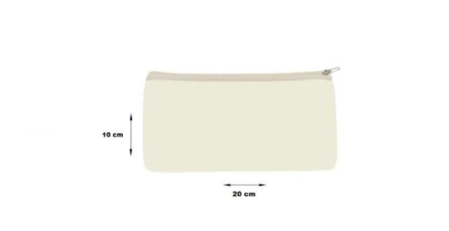 Necessaire de algodão Cru tamanho 20x10 - Sem Arte (lisa) Fecho: Cru