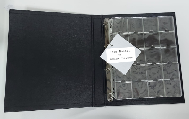 A2- Álbum Pasta Fichário Médio Simples p/ 100 Coin Holder