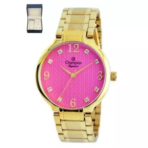 kit de relógio analógico champion feminino + brinco + colar - dourado cód. CN26751J