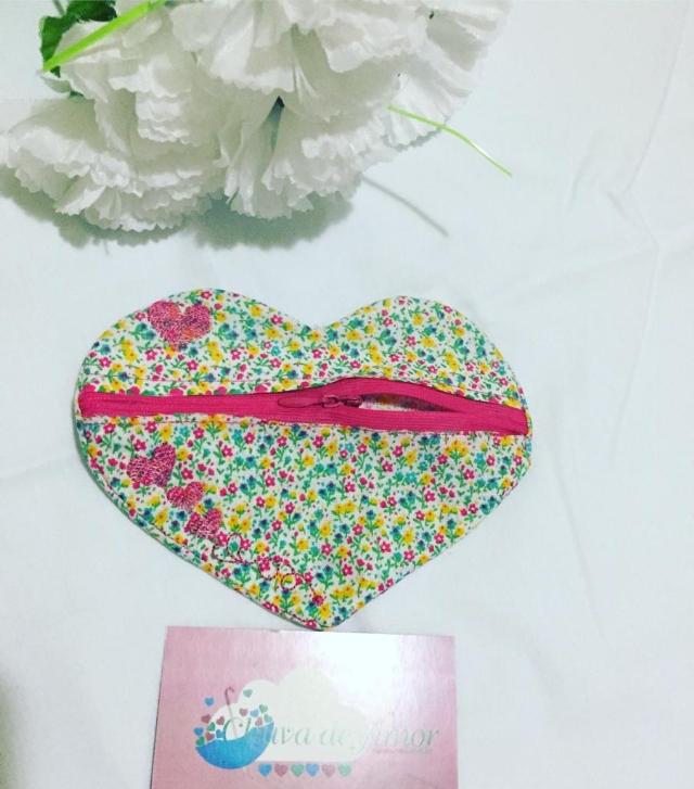 Bolsa porta Moedas Coração - Tecido