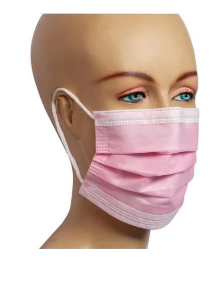 Máscara Descartável TNT com 3 Camadas Rosa c/ 30 Unid.