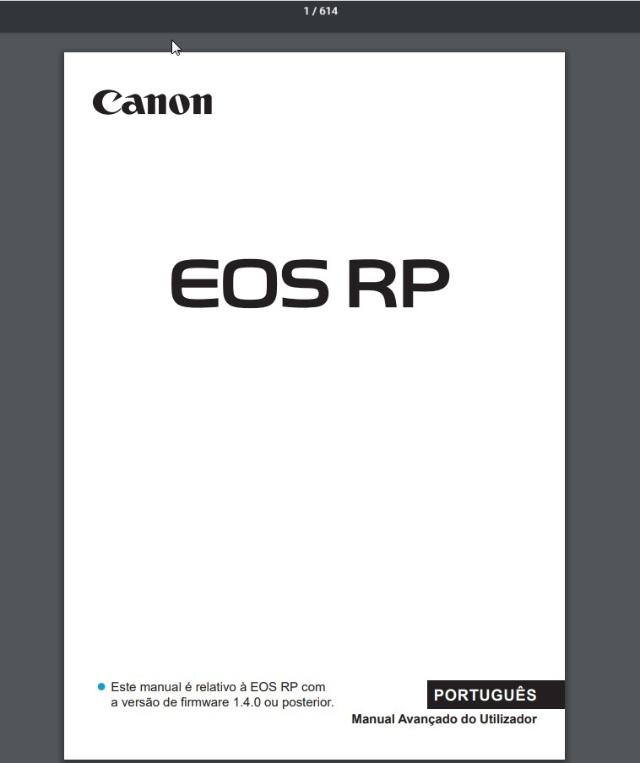 Manual Em Português Canon Eos Rp