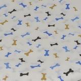 Tecido 100% algodão - Estampa Ossinhos fundo branco