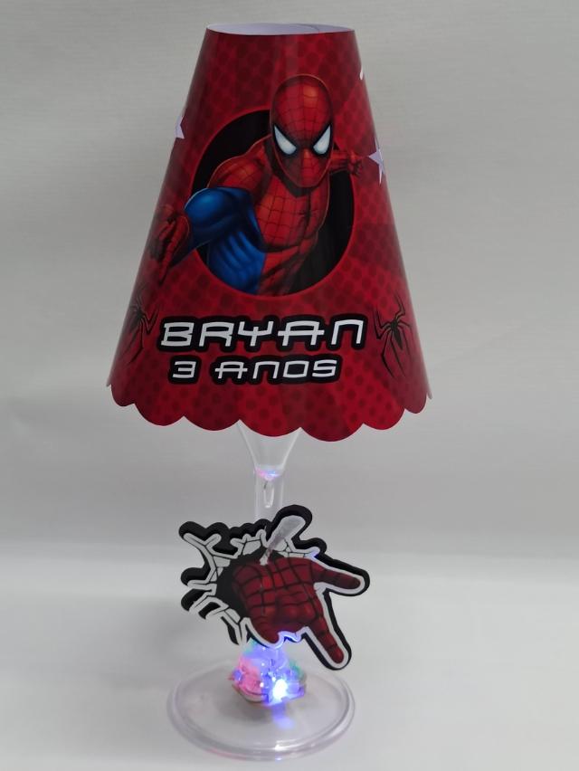 Abajur taça do Homem aranha - FAZEMOS QUALQUER TEMA